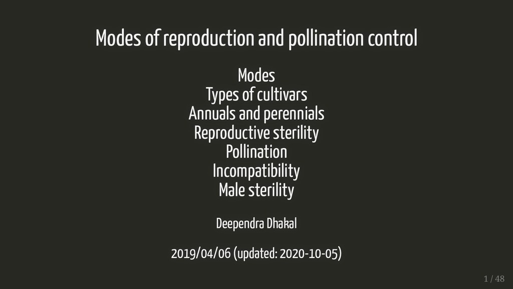 Modes of reproduction and pollination control M...