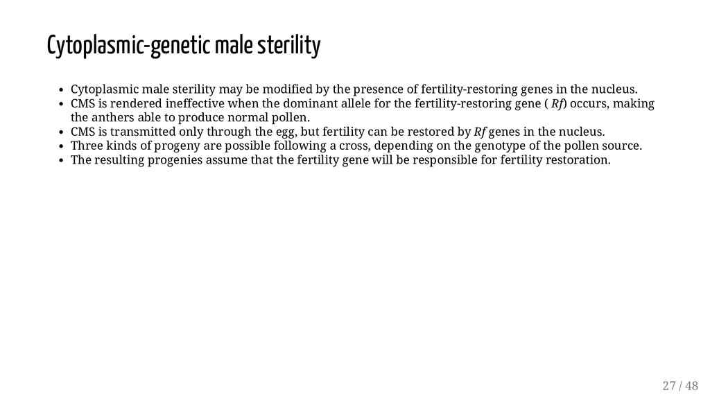 Cytoplasmic-genetic male sterility Cytoplasmic ...