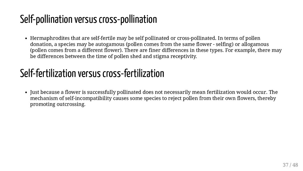 Self-pollination versus cross-pollination Herma...
