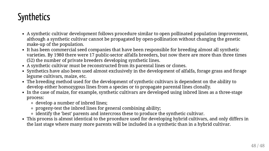 Synthetics A synthetic cultivar development fol...