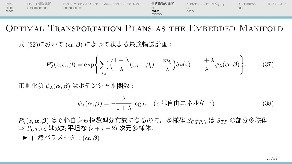 Intro Fisher 情報幾何 Entropy-constrained transport...