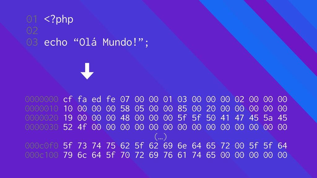 "01 <?php 02 03 echo ""Olá Mundo!""; 0000000 cf fa..."