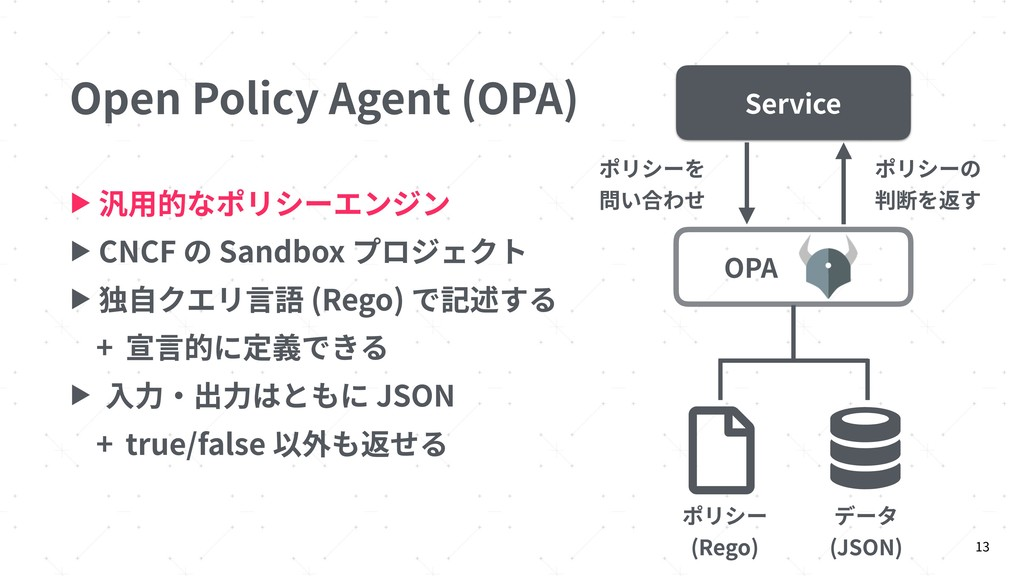 Open Policy Agent (OPA) ▶ 汎⽤的なポリシーエンジン ▶ CNCF の...