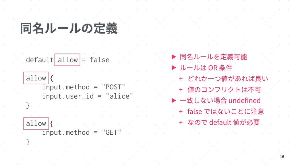 同名ルールの定義 ▶ 同名ルールを定義可能 ▶ ルールは OR 条件 + どれか⼀つ値があれば...
