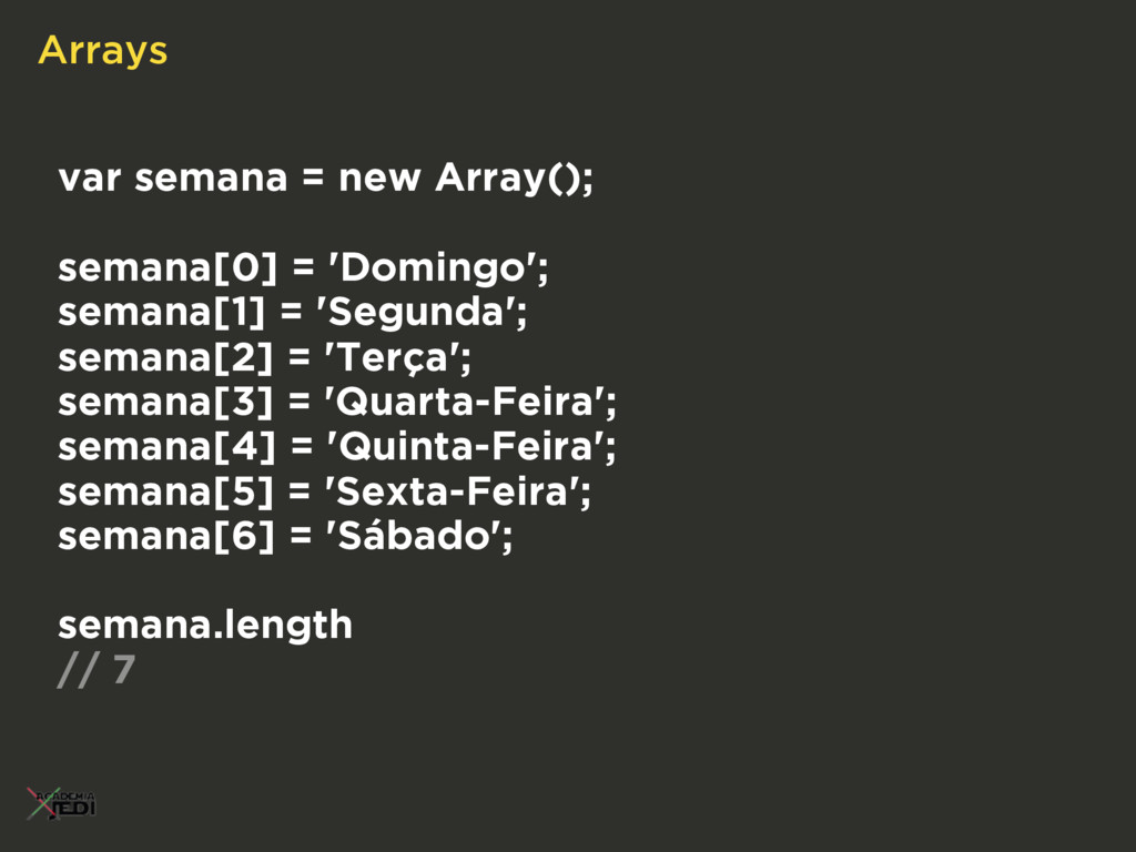 Arrays var semana = new Array(); semana[0] = 'D...