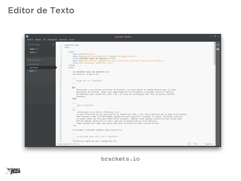 Editor de Texto brackets.io