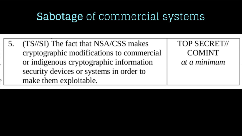 Sabotage of commercial systems