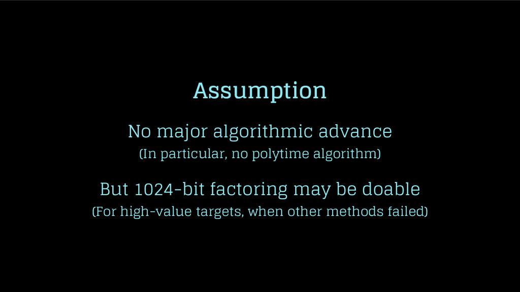 Assumption No major algorithmic advance (In par...