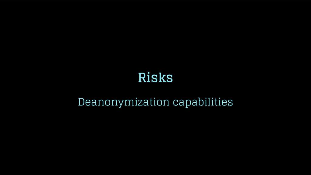 Risks Deanonymization capabilities