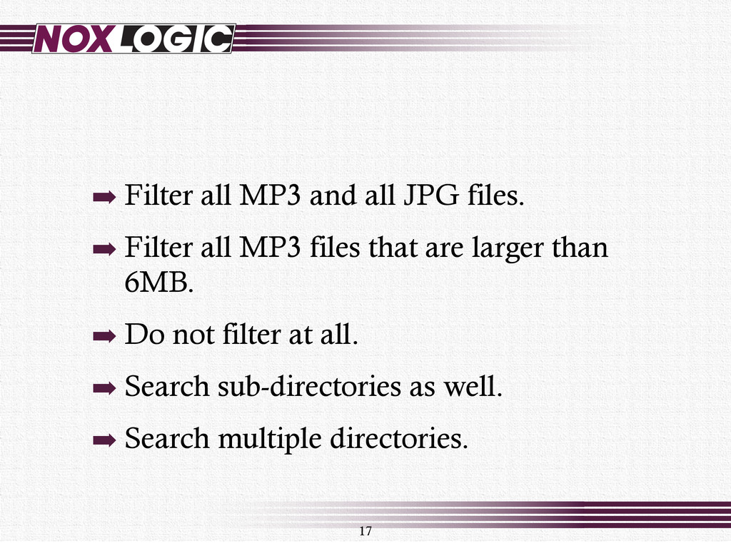 ➡ Filter all MP3 and all JPG files. ➡ Filter al...