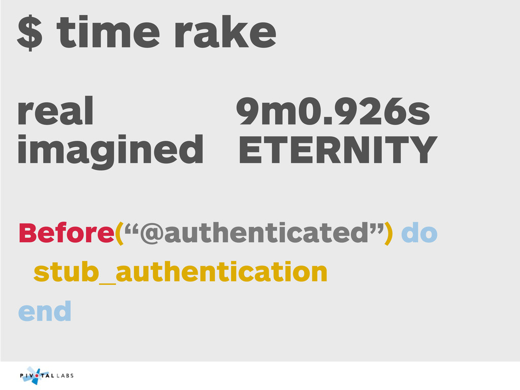 $ time rake real 9m0.926s imagined ETERNITY Bef...