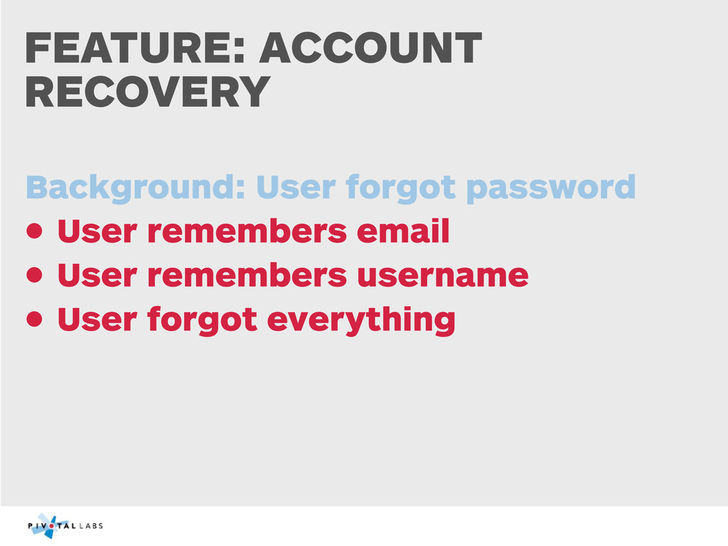 FEATURE: ACCOUNT RECOVERY Background: User forg...