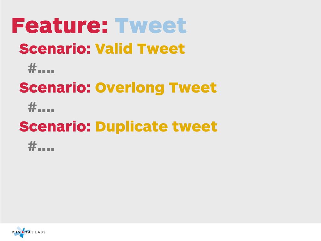 Feature: Tweet Scenario: Valid Tweet #.... Scen...