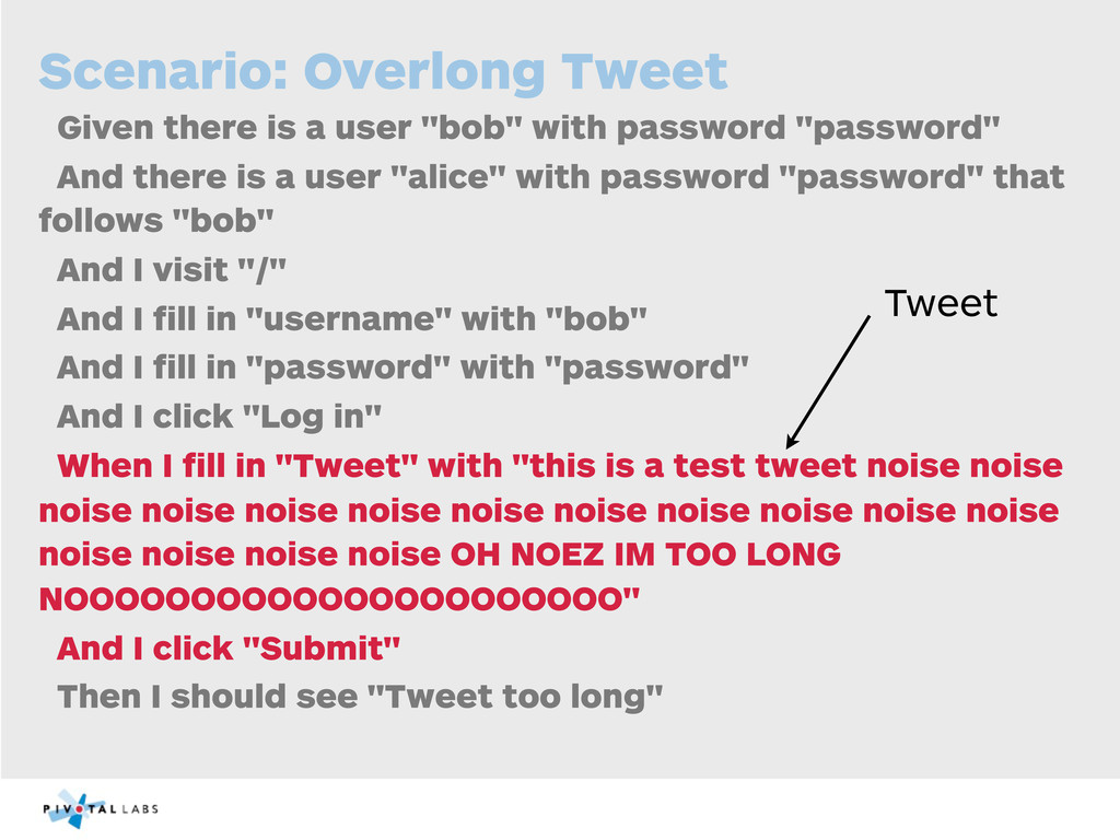 Scenario: Overlong Tweet Given there is a user ...