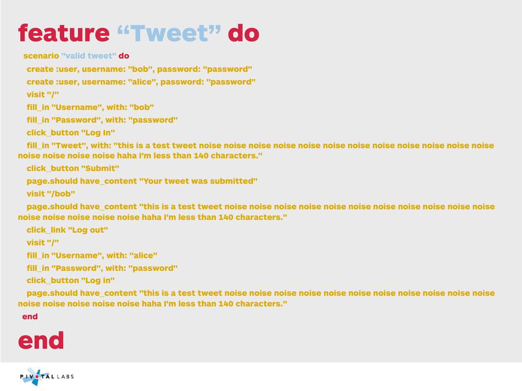 """feature """"Tweet"""" do scenario """"valid tweet"""" do cr..."""
