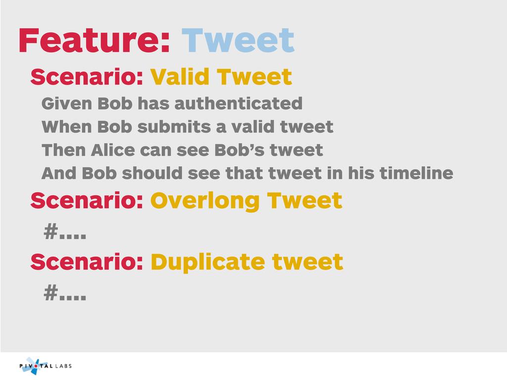 Feature: Tweet Scenario: Valid Tweet Given Bob ...