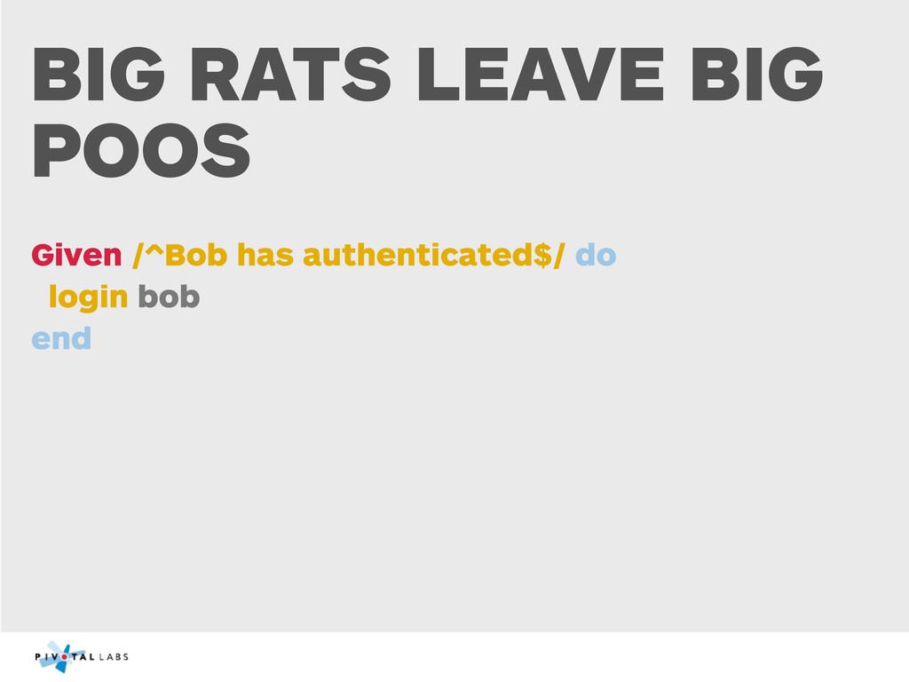 BIG RATS LEAVE BIG POOS Given /^Bob has authent...