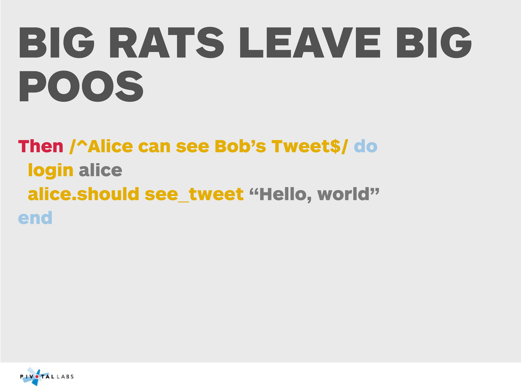 BIG RATS LEAVE BIG POOS Then /^Alice can see Bo...