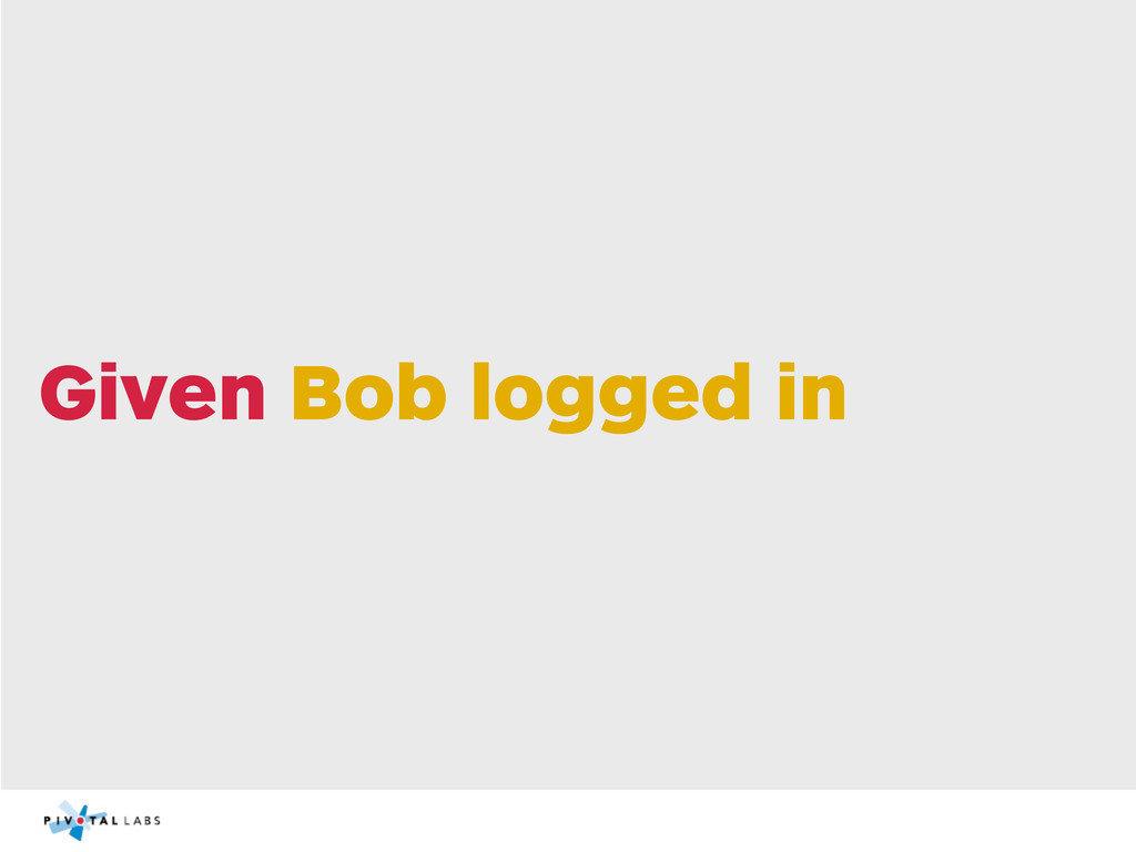 Given Bob logged in