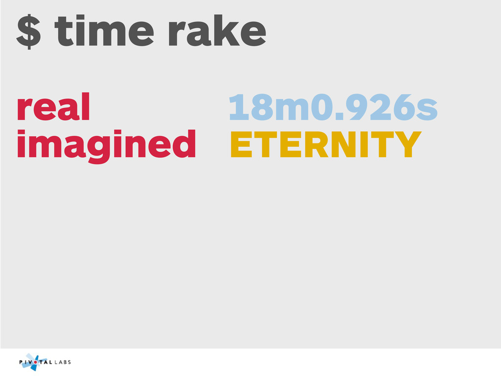 $ time rake real 18m0.926s imagined ETERNITY
