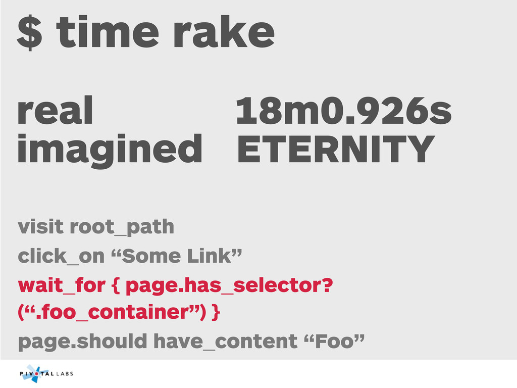 $ time rake real 18m0.926s imagined ETERNITY vi...
