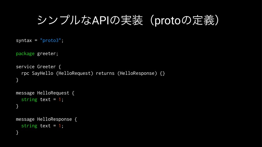 """γϯϓϧͳAPIͷ࣮ʢprotoͷఆٛʣ syntax = """"proto3""""; packag..."""