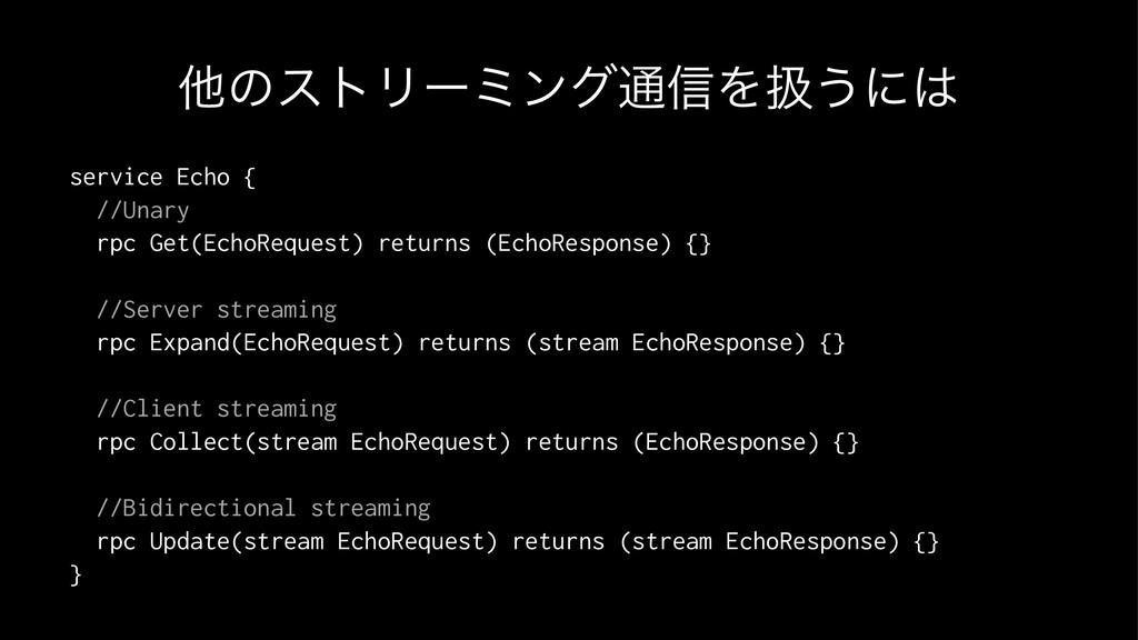 ଞͷετϦʔϛϯά௨৴Λѻ͏ʹ service Echo { //Unary rpc Get...