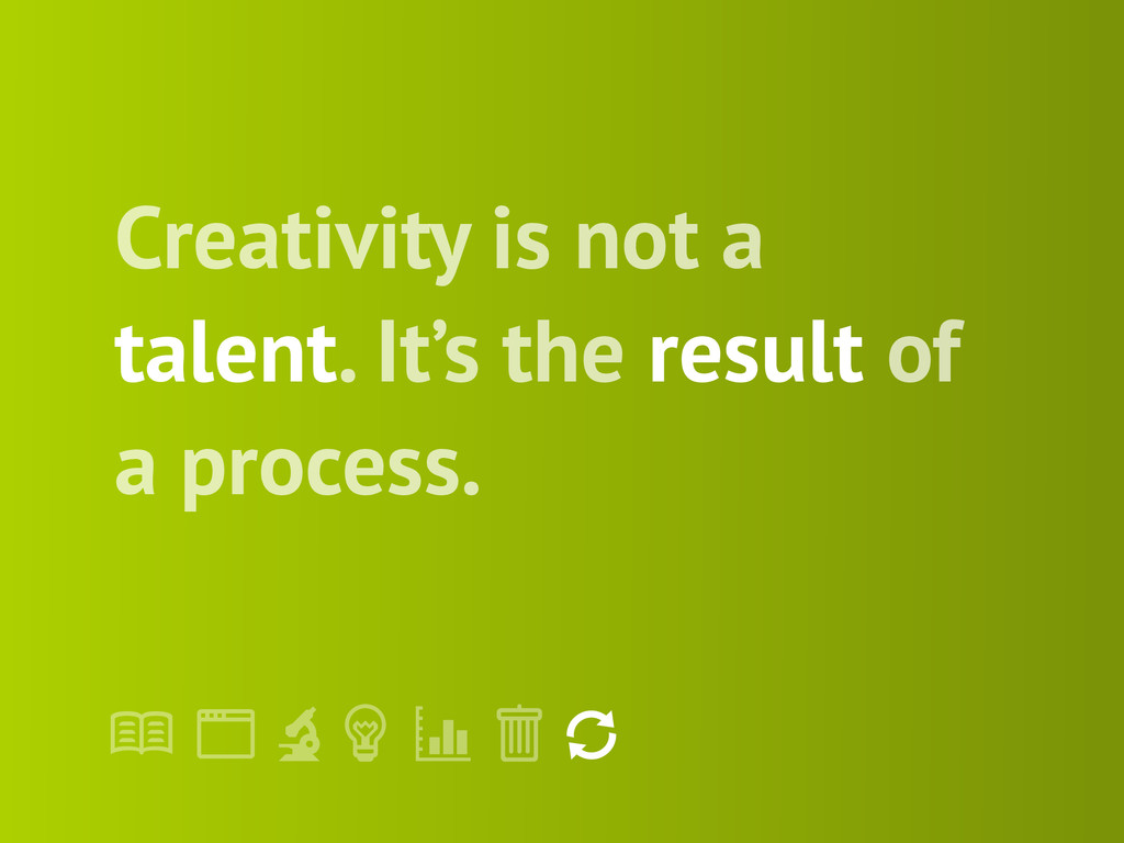 "! "" # $ % & ' Creativity is not a talent. It's ..."