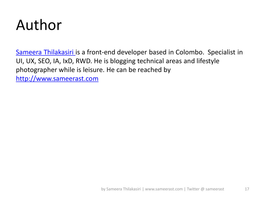 Author Sameera Thilakasiri is a front-end devel...
