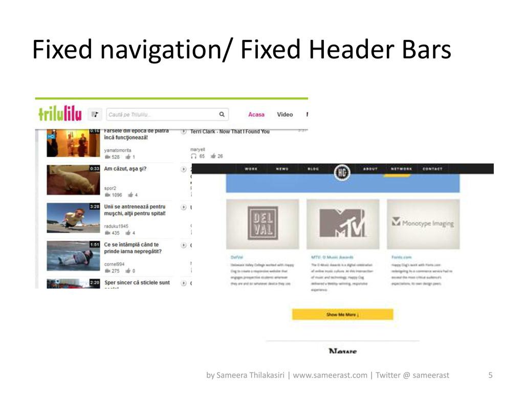 Fixed navigation/ Fixed Header Bars 5 by Sameer...