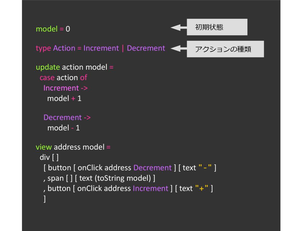 model = 0 type Action = Increment | Decrement u...