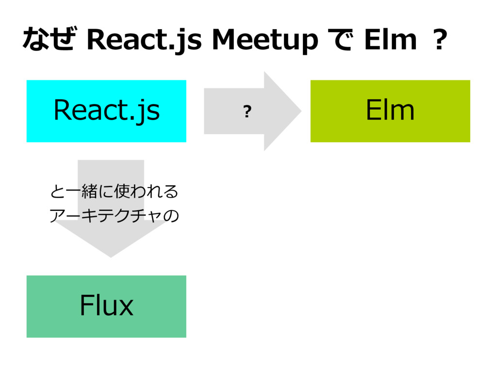 React.js Flux Elm と一緒に使われる アーキテクチャの なぜ React.js...