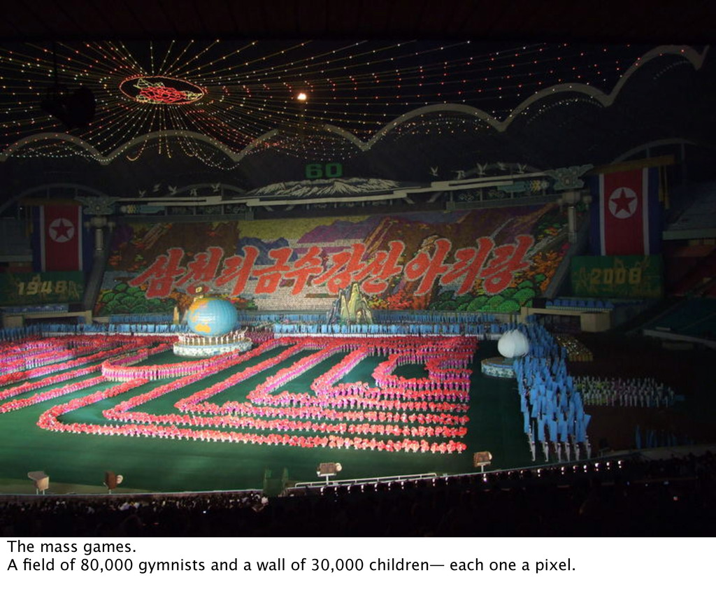 The mass games. A field of 80,000 gymnists and a...