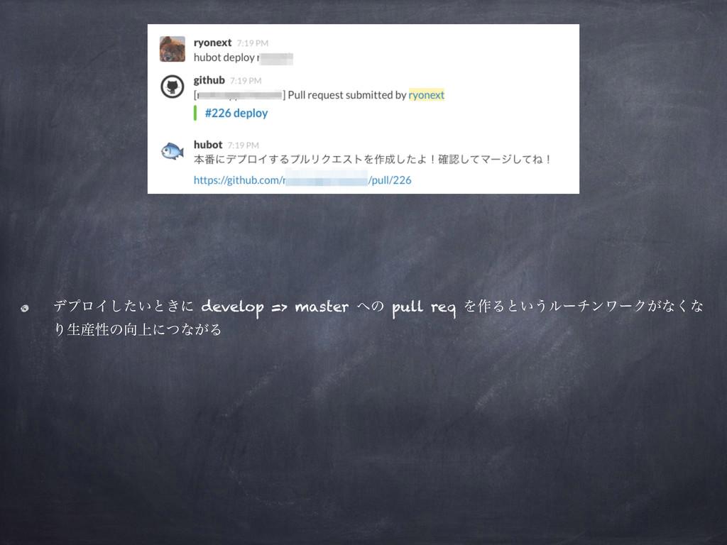 σϓϩΠ͍ͨ͠ͱ͖ʹ develop => master ͷ pull req Λ࡞Δͱ͍͏...