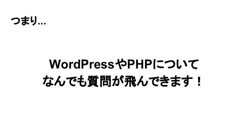 つまり... WordPressやPHPについて なんでも質問が飛んできます!