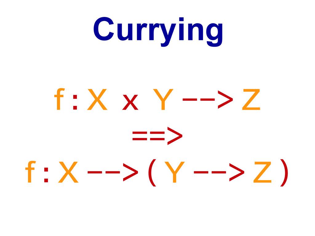 Currying f : X x Y --> Z ==> f : X --> ( Y --> ...
