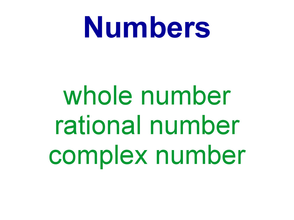 Numbers whole number rational number complex nu...