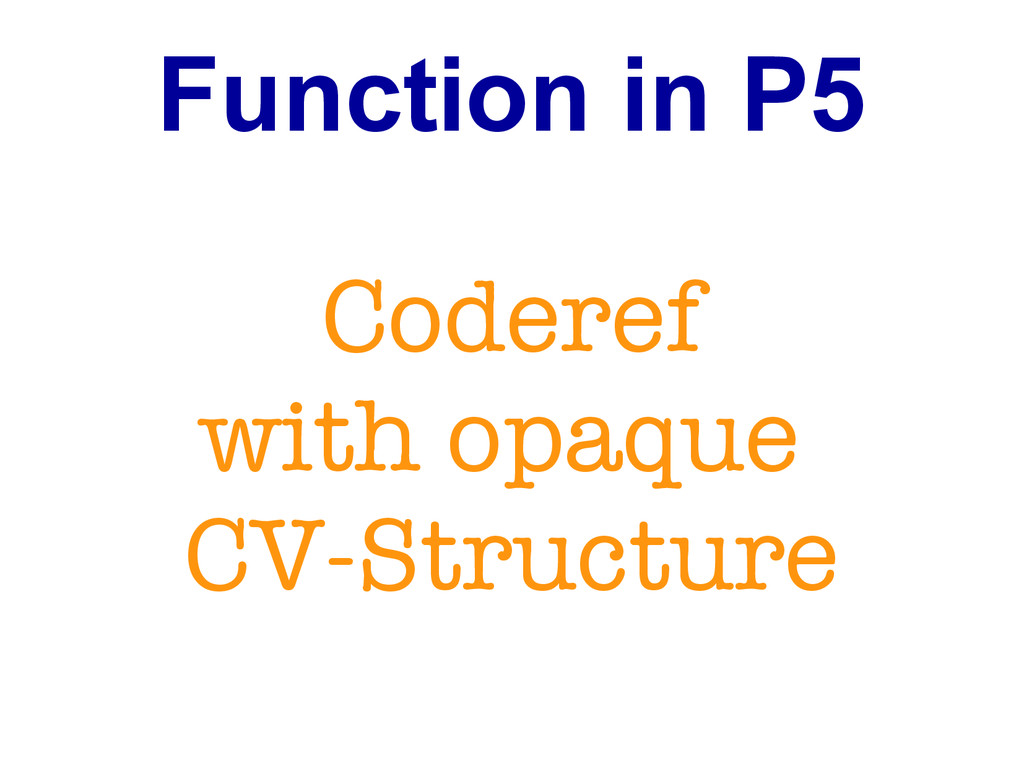 Function in P5 Coderef with opaque CV-Structure