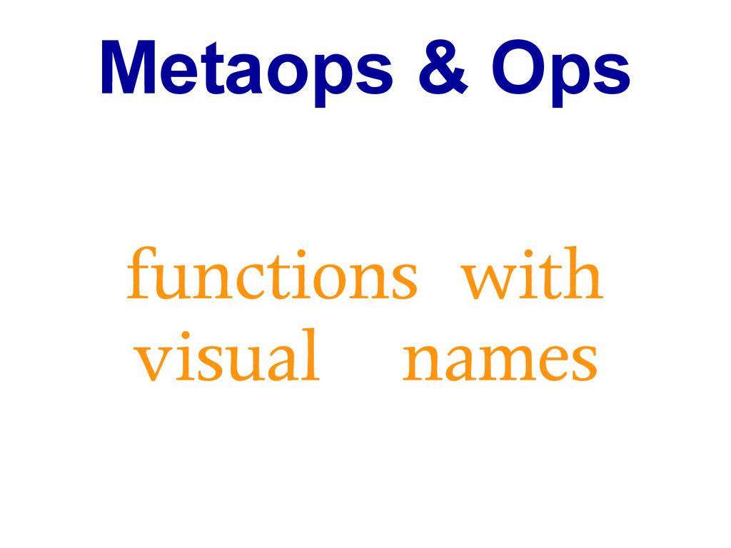 Metaops & Ops functions with visual names