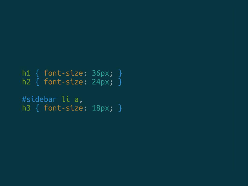 h1 { font-size: 36px; } h2 { font-size: 24px; }...