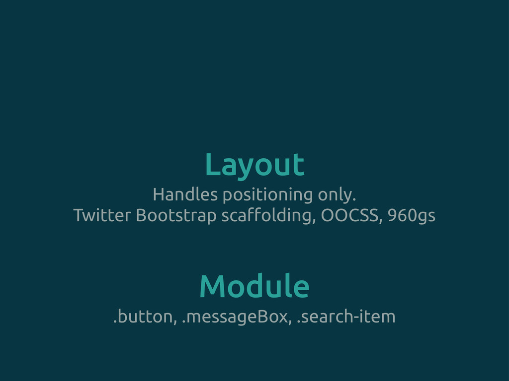 Module Layout Handles positioning only. Twitter...
