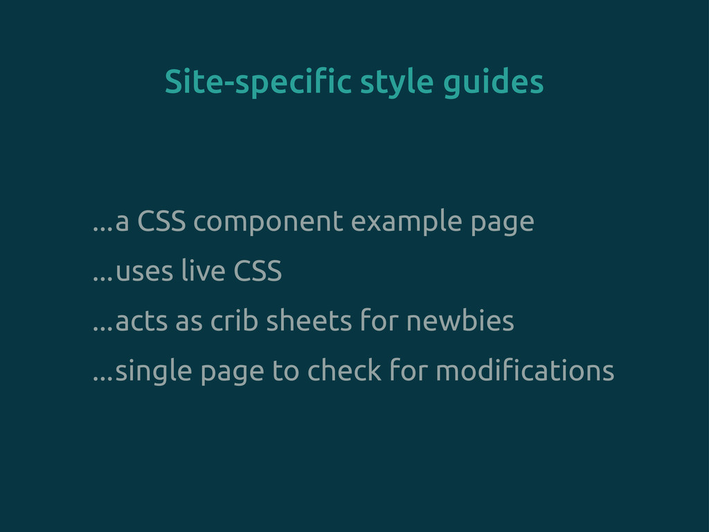 """Site-speci""""c style guides ...a CSS component ex..."""