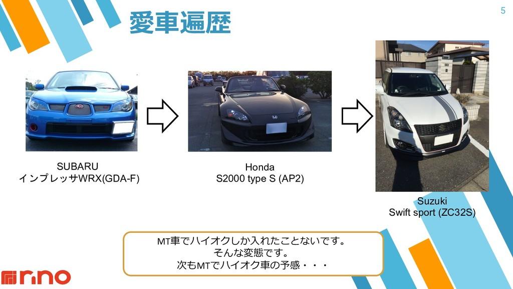 5 愛⾞遍歴 SUBARU インプレッサWRX(GDA-F) Honda S2000 type...