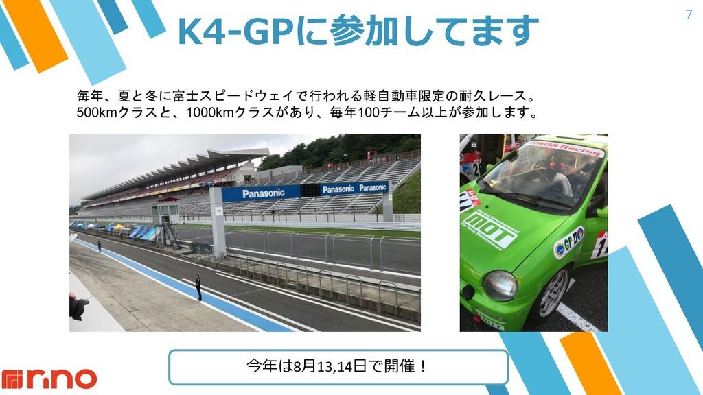 7 K4-GPに参加してます 毎年、夏と冬に富士スピードウェイで行われる軽自動車限定の耐久レー...