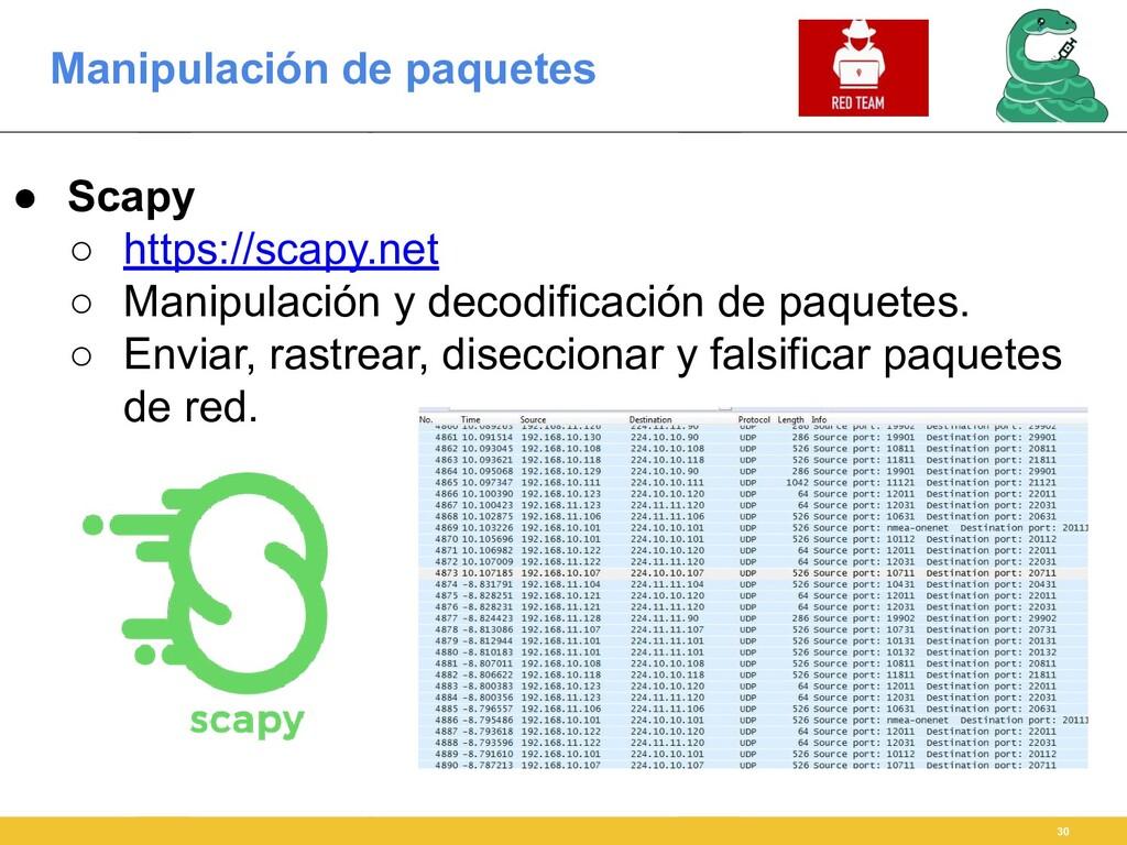 Manipulación de paquetes 30 ● Scapy ○ https://s...