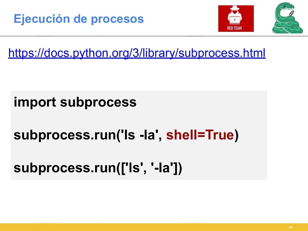 Ejecución de procesos 38 https://docs.python.or...
