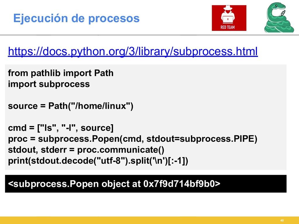 Ejecución de procesos 40 https://docs.python.or...
