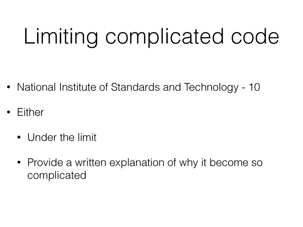 Limiting complicated code • National Institute ...