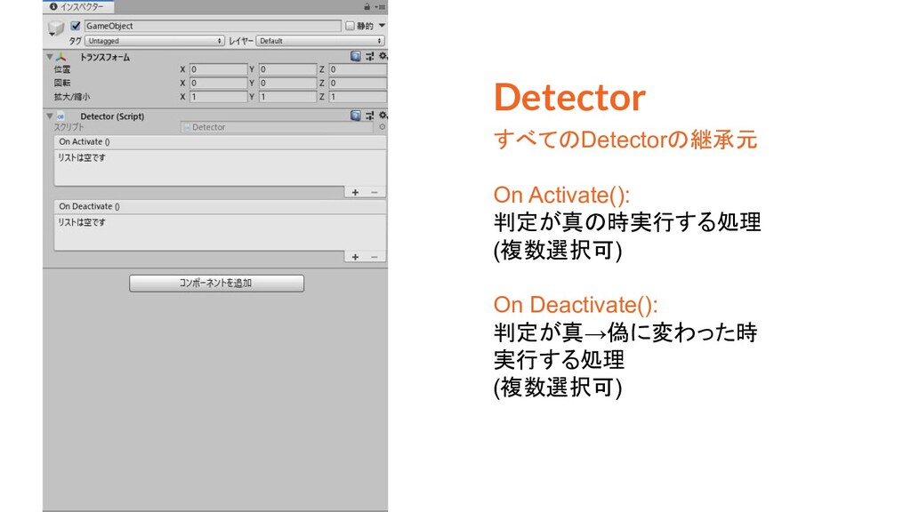 Detector すべてのDetectorの継承元 On Activate(): 判定が真の時...