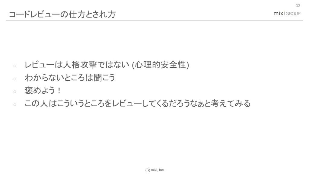 (C) mixi, Inc. ○ レビューは人格攻撃ではない (心理的安全性) ○ わからない...